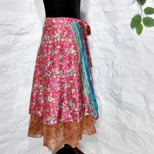 Dresses & Skirts - Floral silk wrap adjustable bohemian hippie skirt